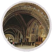 The Interior Of The Lower Basilica Of St. Francis Of Assisi Round Beach Towel by Thomas Hartley Cromek