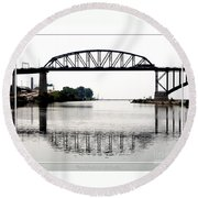 The International Peace Bridge Between The United States  And Canada Round Beach Towel