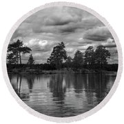 The Island In The Midlle In Bw Round Beach Towel
