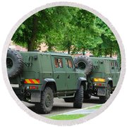 The Iveco Lmv Of The Belgian Army Round Beach Towel