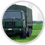 The Iveco M250 8 Ton Truck Round Beach Towel by Luc De Jaeger