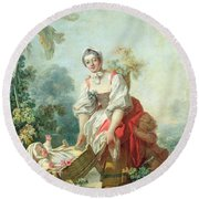 The Joys Of Motherhood Round Beach Towel by Jean-Honore Fragonard
