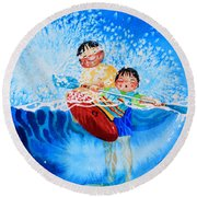 The Kayak Racer 10 Round Beach Towel