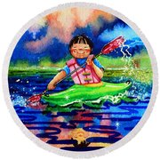 The Kayak Racer 11 Round Beach Towel