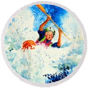 The Kayak Racer 16 Round Beach Towel by Hanne Lore Koehler