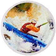 The Kayak Racer 17 Round Beach Towel by Hanne Lore Koehler