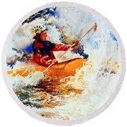 The Kayak Racer 19 Round Beach Towel
