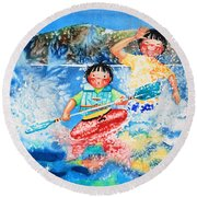 The Kayak Racer 7 Round Beach Towel
