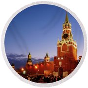 The Kremlin In Moscow Round Beach Towel