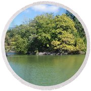 The Lake In Central Park Round Beach Towel