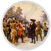 The Landing Of William Penn, 1682 Round Beach Towel