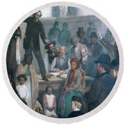 The Last Slave Sale Round Beach Towel by Photo Researchers