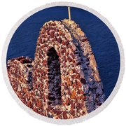 The Last Wall Standing Santorini Greece Round Beach Towel