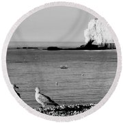 The Lazy Albatrosses Round Beach Towel