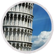 The Leaning Tower Of Pisa Italy Round Beach Towel