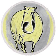 The Legend Of Fat Horse Round Beach Towel