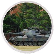 The Leopard 1a5 Main Battle Tank In Use Round Beach Towel
