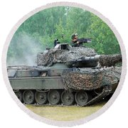 The Leopard 1a5 Main Battle Tank Round Beach Towel by Luc De Jaeger