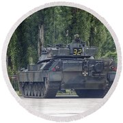 The Leopard 1a5 Of The Belgian Army Round Beach Towel by Luc De Jaeger