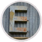 The Letter E Round Beach Towel