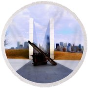 The Liberty State Park 911 Memorial Round Beach Towel