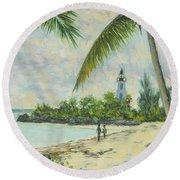 The Lighthouse - Zanzibar Round Beach Towel