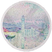 The Lighthouse At Antibes Round Beach Towel by Paul Signac