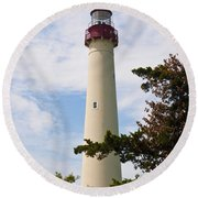 The Lighthouse At Cape May New Jersey Round Beach Towel by Bill Cannon