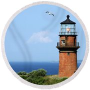 The Lighthouse On Martha's Vineyard Round Beach Towel