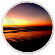 The Lines Of Sunrise  Round Beach Towel
