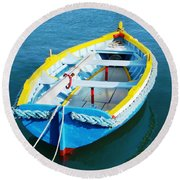 The Little Boat. Round Beach Towel