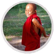 The Little Monk Of Mingun Round Beach Towel by RicardMN Photography