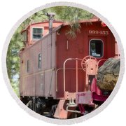 The Little Red Caboose Round Beach Towel