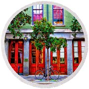 The Locked Bicycle - New Orleans Round Beach Towel
