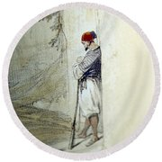 The Lonely Man Round Beach Towel