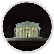 The Lonely Tourist At Jefferson Memorial Round Beach Towel