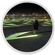 The Lonely Tourist At Pentagon Memorial Round Beach Towel