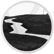 The Long And Winding Road Bw Round Beach Towel