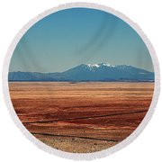 The Long Road To The Meteor Crater In Az Round Beach Towel