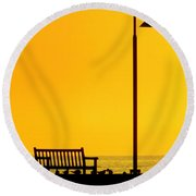 The Long Wait Round Beach Towel by Karen Wiles