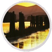 The Lost River Of Gold Round Beach Towel