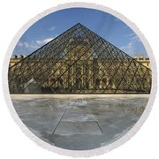 The Louvre Pyramid Paris Round Beach Towel