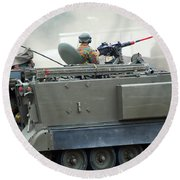 The M113 Tracked Infantry Vehicle Round Beach Towel