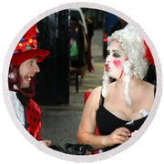 The Mad Hatter And The Red Queen Round Beach Towel