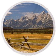 The Majestic Tetons Round Beach Towel