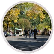 The Mall In Central Park Round Beach Towel