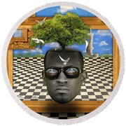 The Man And The Tree  Round Beach Towel