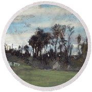 The Meadow Lined With Trees  Round Beach Towel