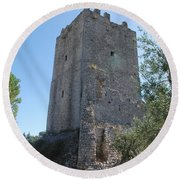 The Medieval Tower Round Beach Towel
