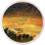 The Meteor Crater In Az 1 Round Beach Towel